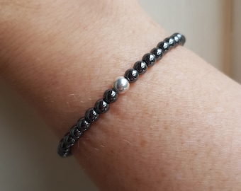 Tiny Black Hematite stretch Bracelet Sterling Silver / Gold 4mm Small black GEMSTONE bead Bracelet beaded Root Chakra yoga jewellery gift