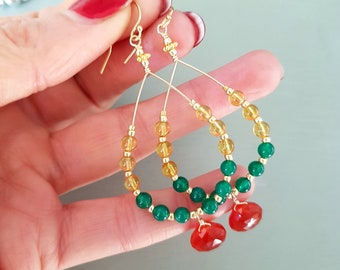 MULTI GEMSTONE hoop earrings 18K Gold Fill  Green Onyx Carnelian and Citrine bead earrings July / November birthstone jewellery gift