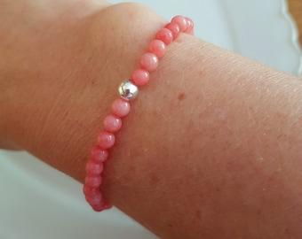 PINK JADE STRETCH Bracelet Sterling Silver Gold Fill Small pink gemstone bead Bracelet 4mm tiny beaded Bracelet heart Chakra jewelry gift