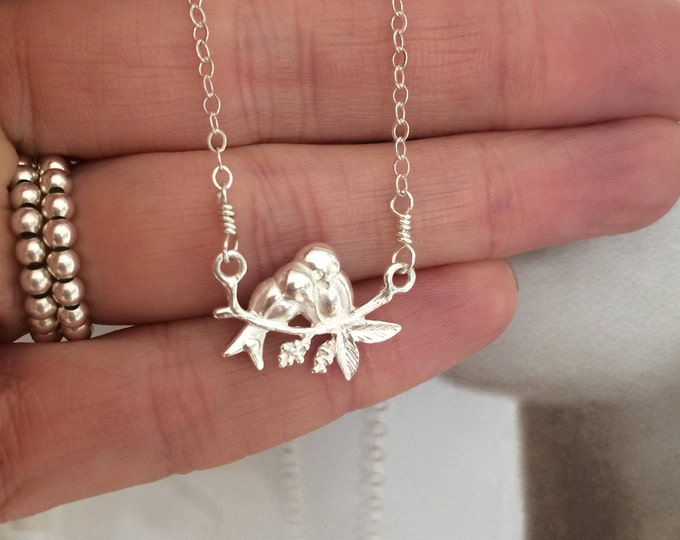 Sterling Silver bird necklace choker 2 small kissing birds on branch wire wrapped bird pendant jewelry girl friend jewellery gift