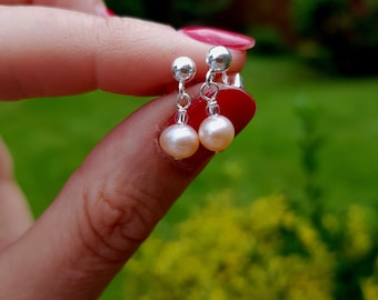 Blush Pink Freshwater pearl drop earrings on Sterling Silver, 18K Gold Fill or 18K Rose Gold Fill fastenings of choice