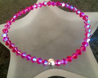 PINK AB Swarovski crystal stretch bracelet Sterling Silver OR Gold tiny fushia bead bracelet stacking bracelet beaded Swarovski jewelry gift