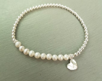 Small Freshwater Pearl stretch bracelet Sterling Silver hammered heart tiny white seed pearl bracelet real pearl jewelry jewellery gift box