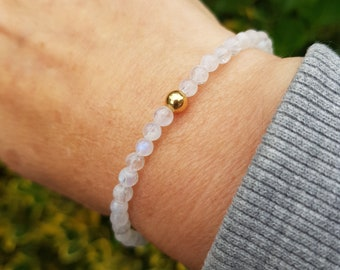Moonstone STRETCH Bracelet Sterling Silver or Gold Fill tiny gemstone bead Bracelet - June Birthstone jewellery Chakra healing jewelry gift