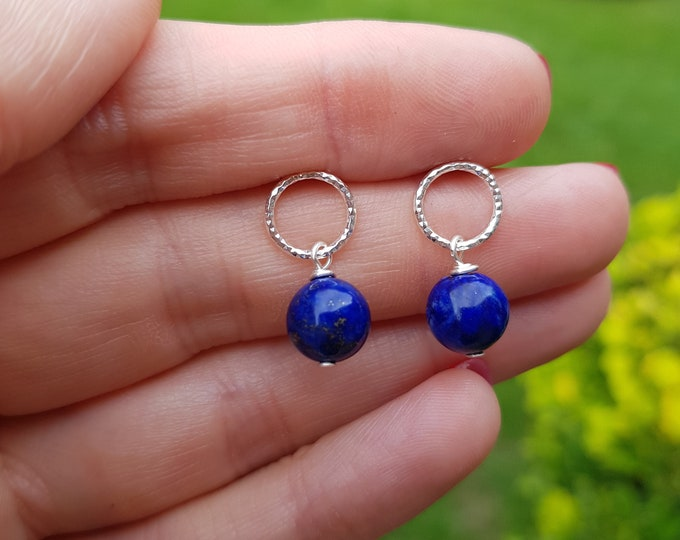 Blue Lapis sterling Silver hammered stud earrings - Lapis Lazuli - September birthstone gift Chakra healing jewellery