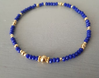 Tiny blue crystal stretch bracelet Gold Fill or Sterling Silver small cobalt blue beaded bracelet seed bead bracelet boho jewellery gift