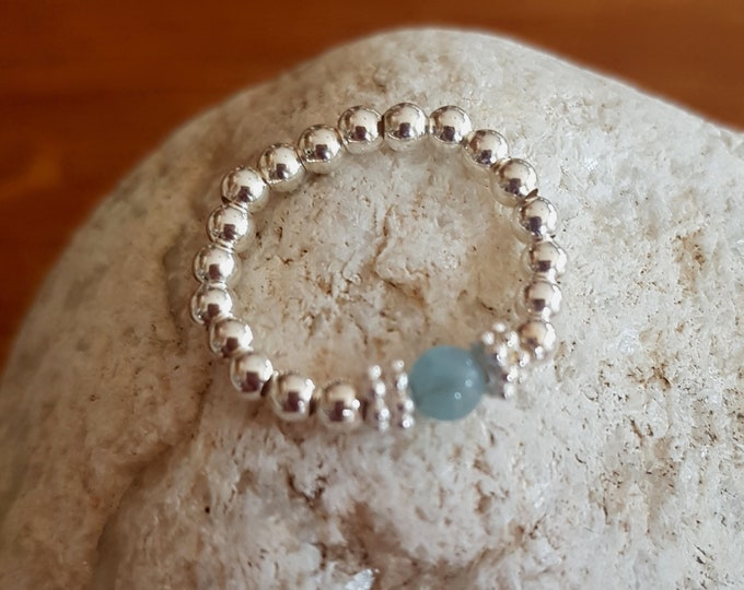 Aquamarine Sterling Silver stretch ring - March BIRTHSTONE stacking ring-  Chakra jewellery gift
