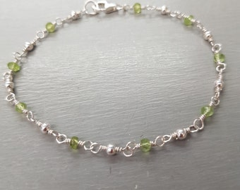 Tiny PERIDOT bracelet Sterling Silver wire wrapped green real gemstone bracelet August Birthstone jewellery gift for her jewelry for girl