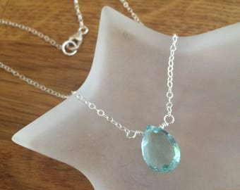 Sterling Silver Aquamarine necklace or choker - March Birthstone jewelry - Throat Chakra jewelry
