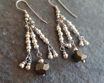 Pyrite earrings Sterling Silver beaded earrings Fools Gold gemstone & seed bead earrings Healing jewellery BOHO earrings gypsy jewelry gift