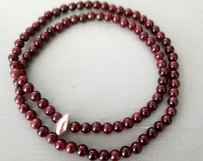 Genuine Garnet stretch wrap Bracelet Sterling Silver 4mm Small red gemstone Bead Bracelet January Birthstone - Chakra Yoga jewellery gift