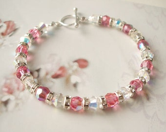 Pink Swarovski crystal bracelet Sterling Silver toggle pink Swarovski crystal & diamante bracelet handmade Swarovski jewellery jewelry gift