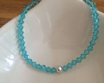 Turquoise Swarovski crystal stretch bracelet Sterling Silver Gold Fill blue bead stacking bracelet Swarovski Crystal jewellery gift for her