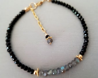Labradorite and black Spinel bracelet 18K Gold Fill or Sterling Silver tiny gemstone bead bracelet