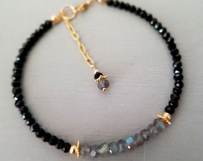 Labradorite and black Spinel bracelet 18K Gold Fill tiny gemstone bead bracelet skinny bracelet beaded black bracelet minimal layering gift