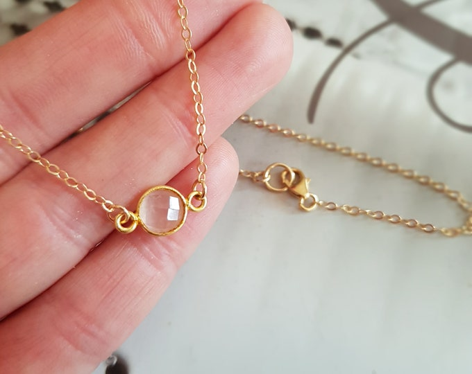 18K Gold filled tiny Rose Quartz necklace choker small pink gemstone necklace simple layering jewelry dainty January Birthstone jewelry gift