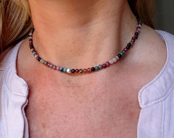 WATERMELON TOURMALINE necklace choker Sterling Silver or Gold Fill tiny gemstone bead necklace Tourmaline Chakra October Birthstone jewelry