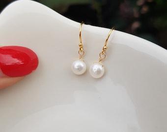 14K Gold Fill tiny pearl drop earrings simple small 6mm Freshwater pearl earrings white Keshi pearl earrings bridal earrings gift for girl