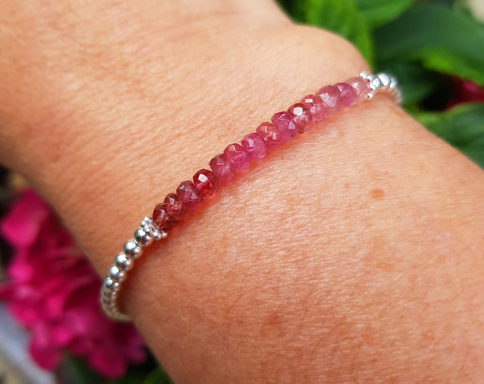 Pink Tourmaline Bracelet Sterling Silver or Gold fill tiny gemstone bead Bracelet clasp or stretch OCTOBER Birthstone jewellery gift for her