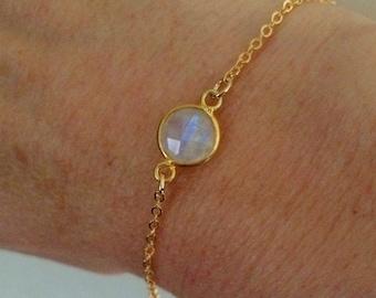 18K Gold fill tiny Moonstone bracelet Gold bracelet stacking - June Birthstone jewellery - minimalist Chakra Jewelry gift