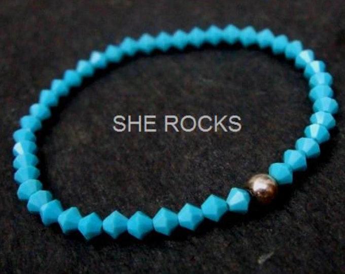 Turquoise Swarovski crystal bracelet Sterling Silver or 14K Gold Fill bead tiny blue crystal stretch bead bracelet December Birthstone gift