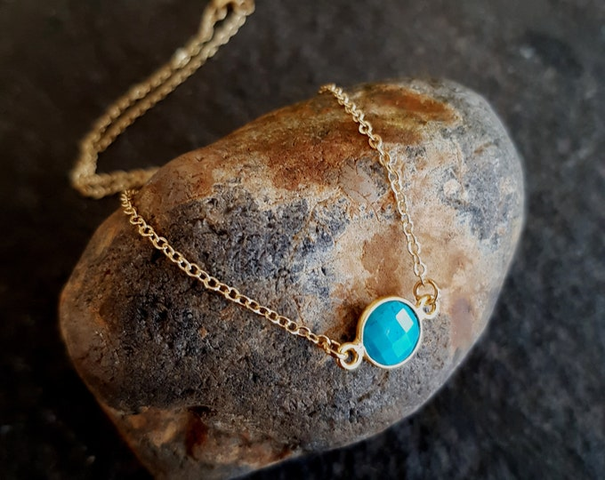 Tiny 18K Gold fill Turquoise necklace choker small blue gemstone stacking layering December Birthstone jewellery minimalist Jewellery gift