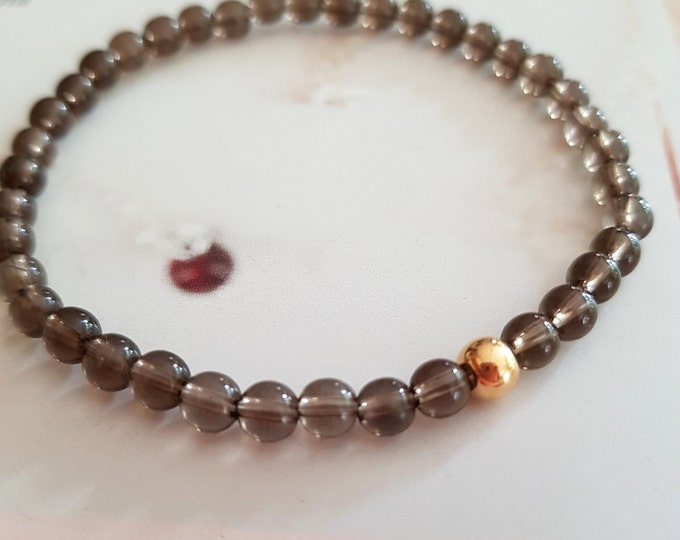Smoky Quartz stretch Bracelet Sterling Silver or Gold Filled Small brown GEMSTONE bead Bracelet 4mm tiny beaded Bracelet Chakra jewelry gift