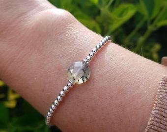 Green Prehnite stretch Bracelet Sterling Silver tiny gemstone bead Bracelet small beaded Healing Crystal jewellery Yoga Chakra Boho gift
