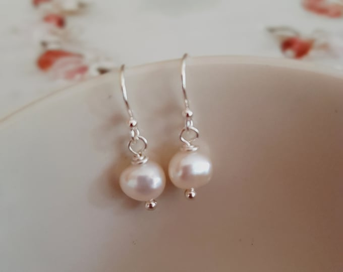 Simple White Freshwater pearl drop earrings Sterling Silver or 18K Gold Fill  simple real Baroque pearl earrings - gift for mum her