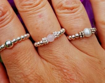 ROSE QUARTZ Sterling Silver stretch ring- beaded gemstone Chakra - healing ring -January Birthstone jewellery gift