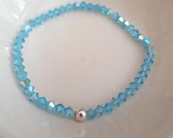 Aqua Blue Swarovski crystal stretch bracelet Sterling Silver or Gold Fill bead