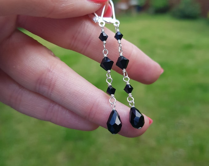 Long Black Swarovski crystal teardrop earrings Sterling Silver or Gold hooks leverbacks or studs  wire wrapped black Swarovski jewelry gift