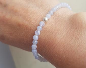Blue Lace Agate STRETCH Bracelet Sterling Silver 4mm Small light blue GEMSTONE bead Bracelet tiny beaded throat Chakra jewellery healing