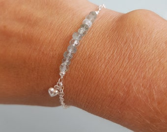 Sterling Silver Aquamarine bracelet- March Birthstone jewellery