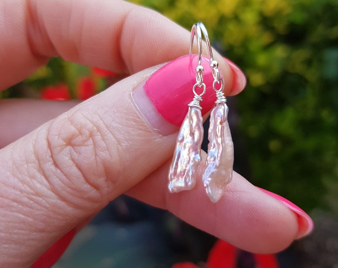 Pink Freshwater pearl earrings Sterling Silver real light pink Biwa pearl drop earrings UNUSUAL simple pink pearl earrings jewellery gift
