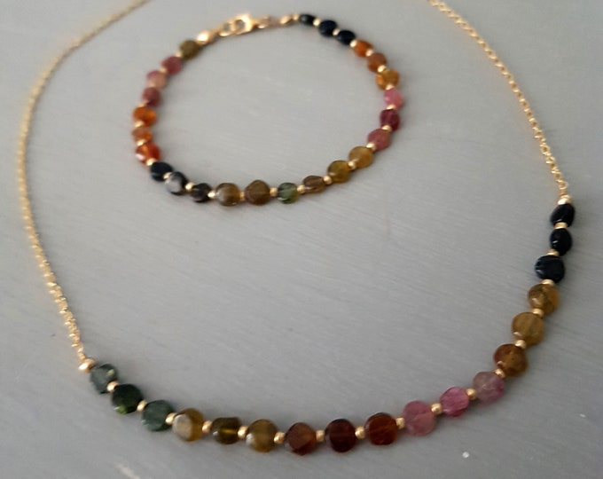 WATERMELON TOURMALINE necklace or choker 18k Gold Fill  or Sterling Silver heart Chakra - October Birthstone jewelry healing  jewellery GIFT