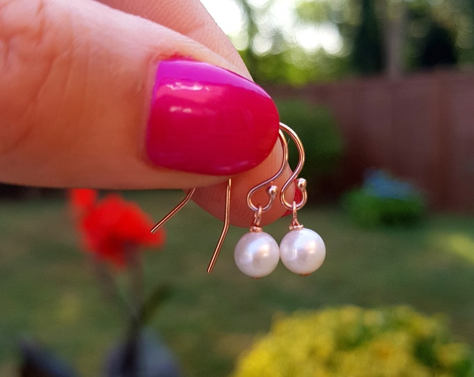 Tiny Freshwater pearl drop earrings 14K Rose Gold, Gold or Sterling Silver simple 5mm AA real pearl earring white earrings gift for girl mum