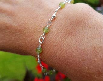 Sterling Silver PERIDOT Bracelet tiny 4mm green gemstone Bead Bracelet beaded Rosary wire wrap August Birthstone jewelry gift Heart Chakra