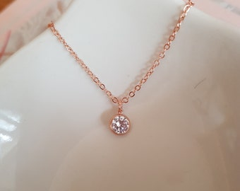 Tiny 18K Rose Gold fill CZ diamond necklace choker clear Cubic Zirconia pendant stacking layering jewellery minimalist bridal Jewelry gift