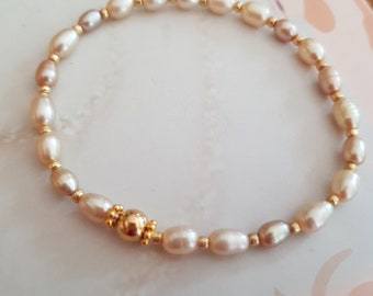 Freshwater Pearl STRETCH Bracelet 14K Gold Fill or Sterling Silver small Champagne rice pearl Bracelet - stacking jewellery gift