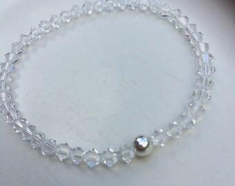 clear Swarovski crystal stretch bracelet Sterling Silver or Gold Fill bead tiny 4mm crystal bracelet Swarovski jewellery jewelry gift