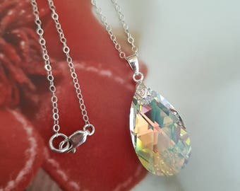 Silver AB Swarovski crystal teardrop Necklace - large AB clear Swarovski crystal pendant  Sterling Silver customised length gift box for mum
