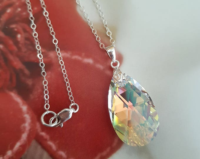 Silver AB Swarovski crystal teardrop Necklace - Sterling Silver customised length gift box for mum