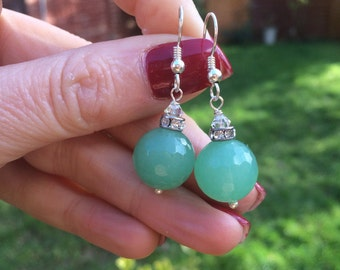 Green Aventurine gemstone bead earrings - Sterling Silver