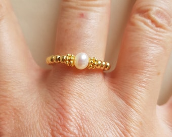 Freshwater Pearl stretch ring Gold Fill small white pearl ring June BIRTHSTONE jewellery ring stacking jewelry beaded ring Chakra gift