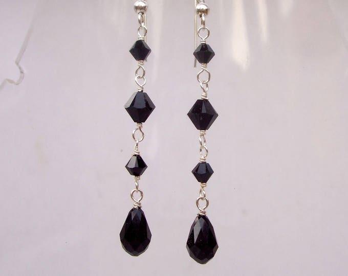 Long Black Swarovski crystal teardrop earrings Sterling Silver or Gold hooks leverbacks or studs