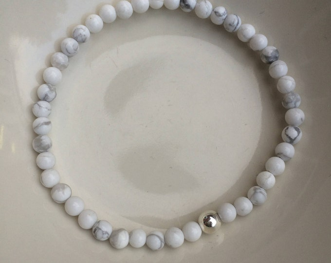 WHITE HOWLITE stretch Bracelet - Sterling Silver or 14K Gold Fill bead - Crown Chakra - Yoga gift