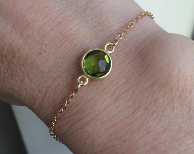 Peridot bracelet 18K Gold Fill tiny green gemstone bracelet - August Birthstone jewellery gift