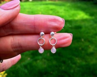 Tiny Rose Quartz earrings Sterling Silver STUD small 4mm Rose Quartz drop earrings pink gemstone jewelry Healing Chakra jewellery girl gift