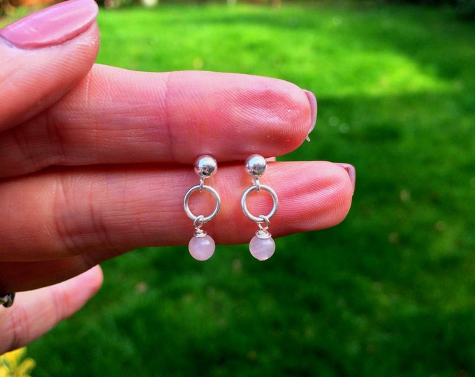 Tiny Rose Quartz earrings Sterling Silver STUD small 4mm Rose Quartz drop earrings pink gemstone jewelry Healing Chakra jewellery girl gift